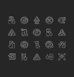 Fire safety chalk white icons set on black vector