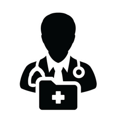 first aid icon male doctor person profile avatar vector image