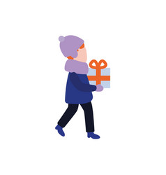 flat boy kid with present gift boxes vector image