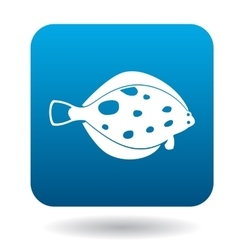 Flounder fish icon simple style vector