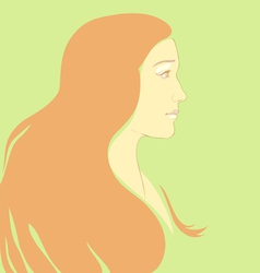 girl with long hair cartoon vector image