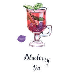 glass of blueberry tea vector image