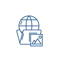 global cases line icon concept global cases flat vector image