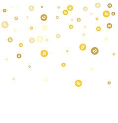 Gold bitcoins confetti celebration falling golden vector