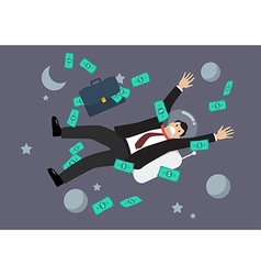 Greedy businessman floating in space vector