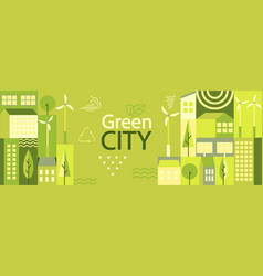 Green city horizontal banner vector