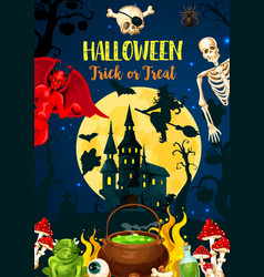 halloween castle of dracula monsters and ghost vector image