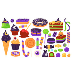 halloween sweets trick or treats candies vector image