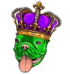 hand drawn pug cute dog king vector image