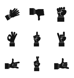 Hand icons set simple style vector