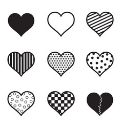 hearts icon set black silhouette vector image