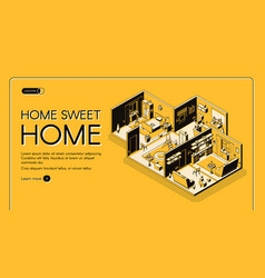 Home construction plan isometric website vector