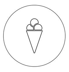 ice cream cone icon black color in circle vector image