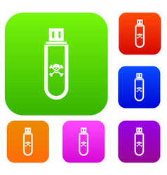 infected usb flash drive set collection vector image