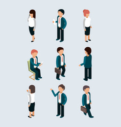 isometric business people young male female vector image