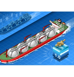Isometric Gas Tanker Ship in Navigation vector image