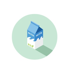 Isometric of eco milk box vector