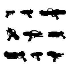 kids water guns silhouettes on white vector image