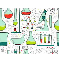 laboratory equipment color seamless pattern vector image