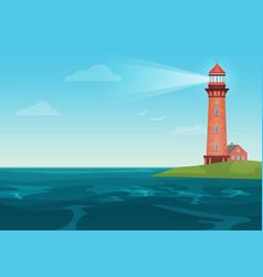 lighthouse on on little island cartoon vector image