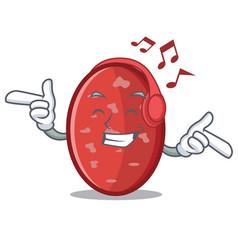 Listening music salami mascot cartoon style vector