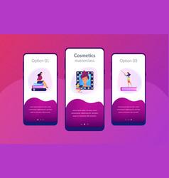 Makeup courses app interface template vector