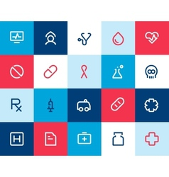 Medical and healthcare icons Flat vector