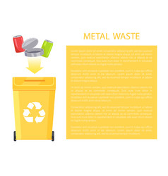 Metal waste poster and text vector