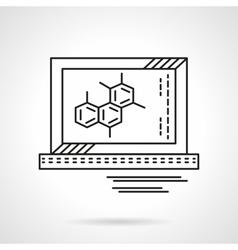 Molecule on monitor flat line icon vector image