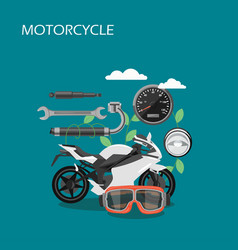 Motorcycle parts flat style design vector