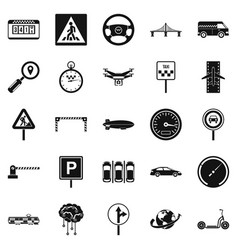 movement icons set simple style vector image