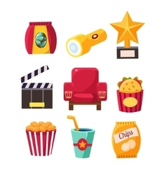 Movie theatre related objects collection vector