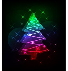 neon christmas tree vector image