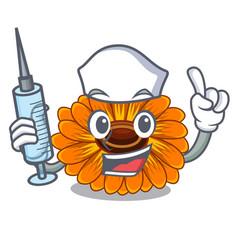 Nurse calendula flowers in a cartoon basket vector