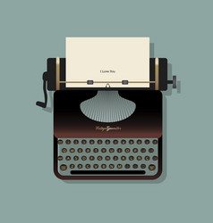 old typewriter with a sheet paper and a vector image