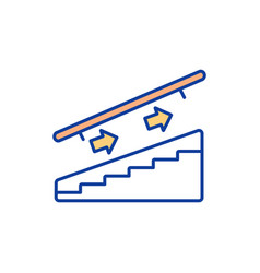 one-way traffic on staircase rgb color icon vector image