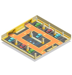 Parking Underground Isometric Template vector