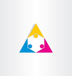 people holding hands triangle icon vector image