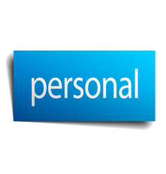Personal blue paper sign on white background vector