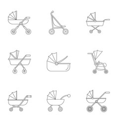 pram stroller icon set outline style vector image