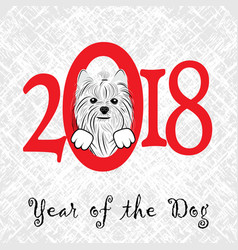 Puppy animal york dog of chinese new year of the vector