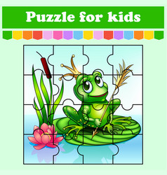 puzzle game for kids princess frog education vector image