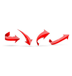red arrows 3d web icons vector image
