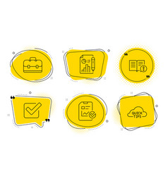 Report checklist facts and portfolio icons set vector