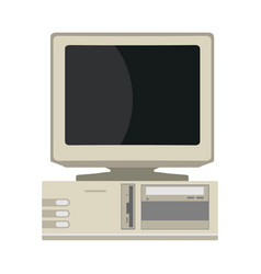 Retro computer front view device equipment flat vector
