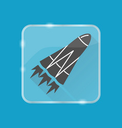 Rocket silhouette icon in flat style on vector