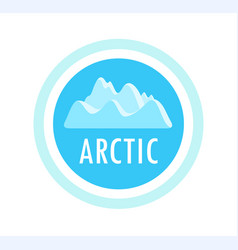 round emblem with ice mountains and arctic vector image