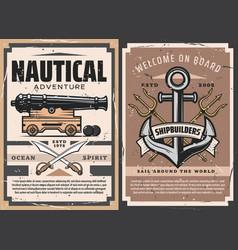 sea ship anchor naval cannon vector image