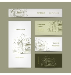 Set of business cards design with country house vector image