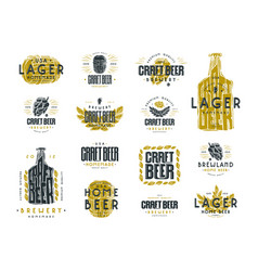 Set of craft beer label and logo vector
